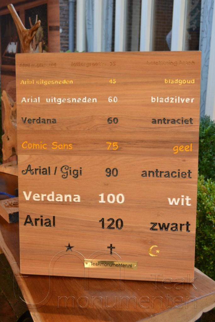 houten grafmonument, houten gedenkteken, voorbeelden belettering