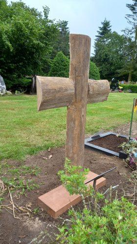 kruis ruw teakhout, achterkant